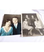VTG 2 pc Lg Photographs Snapshots old black & white photos & colored cou... - $15.05