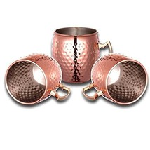 JIAQI 4pcs Moscow Mule Mug Cup Drinking Hammered Copper Brass Steel Gift... - $26.96