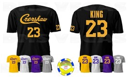Los Angeles Lakers Crenshaw Lebron James King 23 Jersey Tee Shirt Men S-5XL - $19.99+