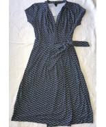 NWT $119 Ann Taylor Womens Size 8 Wrap Dress Navy Blue Diamonds Design C... - $39.57