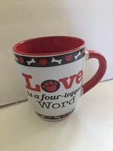 """Coffee Cup Ceramic 16oz """"Love Is A Four-Legged Word"""" Dog Lovers Design - $14.84"""