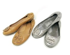 Tory Burch Womens Size 9 Ballet Flats Lot Of 2 Silver Brown Leather Slip... - €90,31 EUR