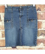 Old Navy Womens Denim Skirt Size 4 Slit Flap Pockets  - $18.81
