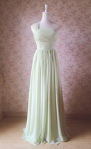 Sage Green One Shoulder Maxi Formal Dress A-line Chiffon Sage Green Prom Dress