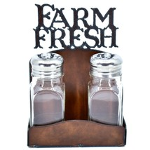"Country Western Rustic Iron Metal Cutout ""Farm Fresh"" Salt & Pepper Shaker Set image 1"