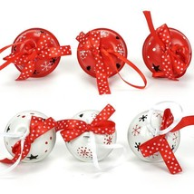 Christmas Tree Decorations Home Ornament Red White Metal Ball Ribbon Xma... - €10,18 EUR