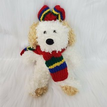 "9"" Cream Puppy Dog Plush Stuffed Animal Toy in Winter Scarf  B202 - $10.97"