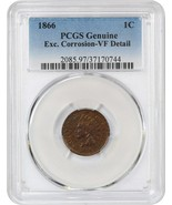 1866 1c PCGS VF Detail (Excessive Corrosion) - Indian Cent - $92.15