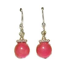 """3/4"""" 8mm Pink Tourmaline Sterling Silver Drop Earrings - $16.99"""