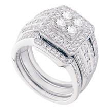 14k White Gold Round Diamond Bridal Wedding Engagement Ring Set 1-1/2 Ctw - $2,599.00