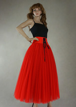 8-Layer Red Tulle Skirt Women High Waist Tulle Outfit Red Maxi Skirt Party Skirt image 4