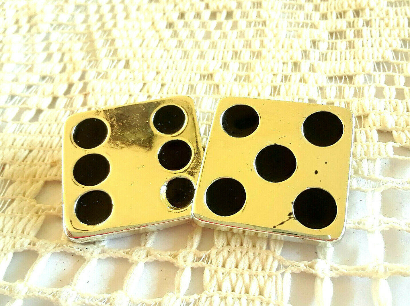 Primary image for Vintage Signed Danecraft Lucky 11 Pair of Dice Gambling Silver Tone Pin Brooch
