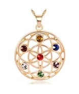 Crystal Studded Mandala Flower of Life Necklace - $21.00