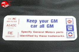 77 Pontiac V8-2V Keep Your GM All GM Air Cleaner Decal RE 8995542 Filter A542C - $999.99