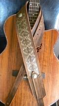 "HANDMADE WESTERN LEATHER GUITAR STRAP DIAMONDBACK SERIES ""TRAIL WORN"" - $92.57"
