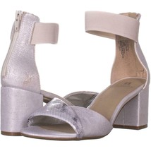 White Mountain Evie Criss Crossed Ankle Strap Sandals 925, Silver/Fabric, 7.5 US - $23.03