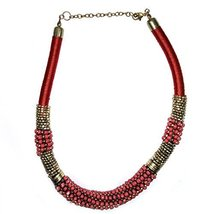 Tribal Banjara Jewellery Necklace with Pink & Golden Beads Boho Belly Dance - $15.00