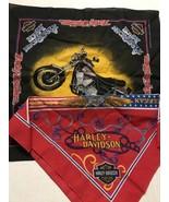 2 Vintage Harley Davidson Bandana Motorcycle Made In USA 50/50 - $22.00