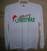 "Gildan Ladies ""Merry Christmas"" White L/S  T-Shirt Size: Large  UPC:710534478816 - $9.90"