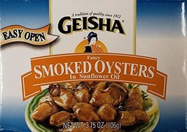 Geisha Fancy Smoked Oysters in Cottonseed Oil 3 Pack 3.75 oz Cans