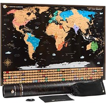 MonteQuesto Scratch Off Map of The World and Wall Travel Poster with US States -