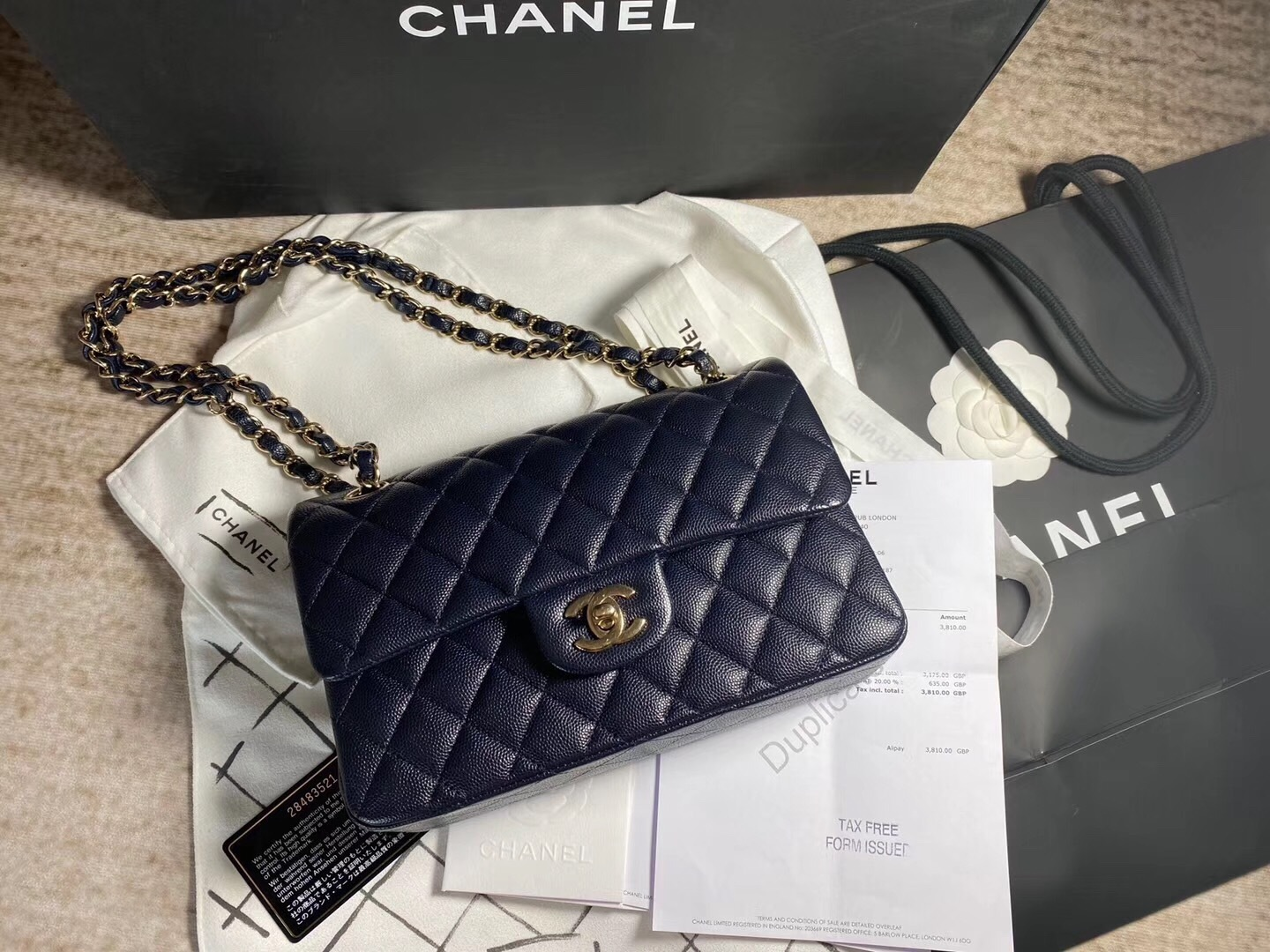 AUTH BNW CHANEL 2019 NAVY CAVIAR QUILTED SMALL DOUBLE FLAP BAG GHW RECEIPT