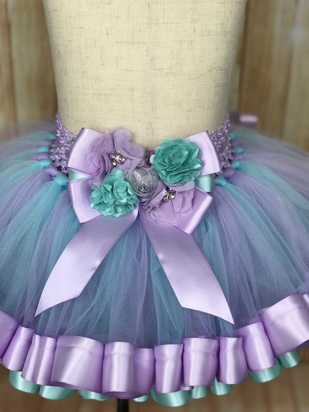 Ribbon Trimmed Tulle Tutu Skirt, customized in any color choice - $40.00 - $55.00