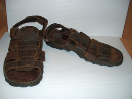 SKECHERS 60847 Brown Leather Sandals Mens 10 M, EU43 - $14.01