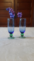 Blue glasses with green bottom tall thin - $15.00