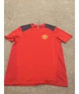 Manchester United Jersey Medium Red Gray Patch Polyester - $19.80