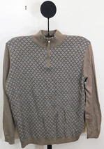 Tasso Elba Men's Coco Bean Heather Brown 1/2 Zip Diamond Knit Patch Swea... - $375,56 MXN