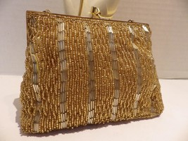 Gorgeous 1960s Vintage Gold Beaded Evening Bag Clutch Laura USA - $20.78