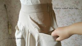 Women Loose LINEN SKIRT Summer Casual Boho Skirt Big Pockets Asymmetrical Skirt image 5