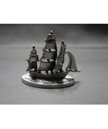 Pewter Full Rigged Sailing Ship Mystic Seaport Figurine 1981 by Spoontiques - $8.99