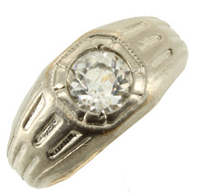 Antique Deco White Gf Gold Filled 1.07CT Paste Unisex Signet Ring Size 8.5 - $87.74