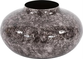Vase Howard Elliott Pod Round Large Marbled Black Iron New - $219.00