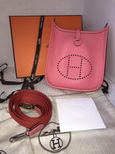NEW-Auth HERMES Rose Azalea Clemence Evelyne Mini TPM Messenger/Shoulder Handbag
