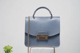 FURLA Julia Mini Top Handle Bag Blue Grey Authentic - $265.00