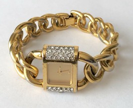 Ladies THE FRANKLIN MINT Vintage Swiss Movt Rhinestone Gold Tone Watch 1... - $35.03
