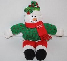 "Christmas SNOWMAN 13"" Red Green Plush Stuffed Shelf Sitter 2007 Decorati... - $13.52"