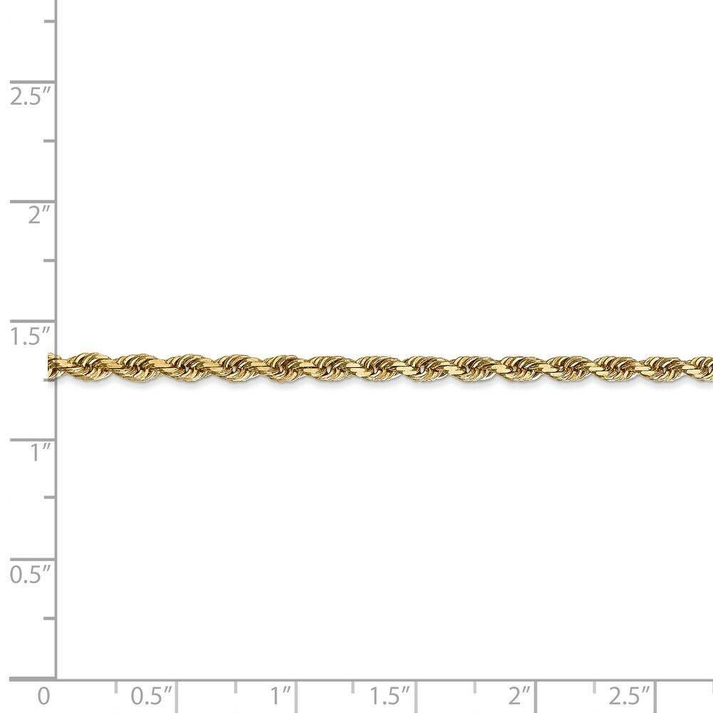 14k Yellow Gold 3.0mm Diamond-Cut Quadruple Rope Chain Bracelet / Anklet 9 Inch image 4