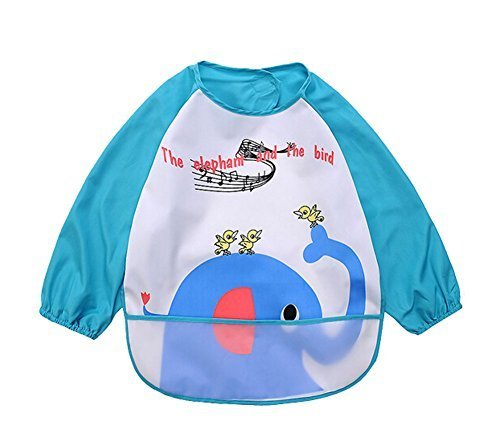 Elephant Durable Waterproof Sleeved Bib Baby Feeding Smock Baby Bibs, 0-3 Years