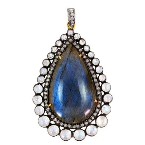 Primary image for 14 K Gold Gemstone Labradorite Pendant .925 Sterling Silver Pave Diamond Jewelry
