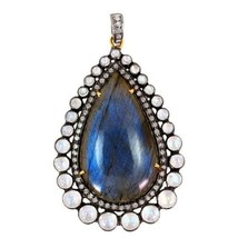 14 K Gold Gemstone Labradorite Pendant .925 Sterling Silver Pave Diamond... - $609.33