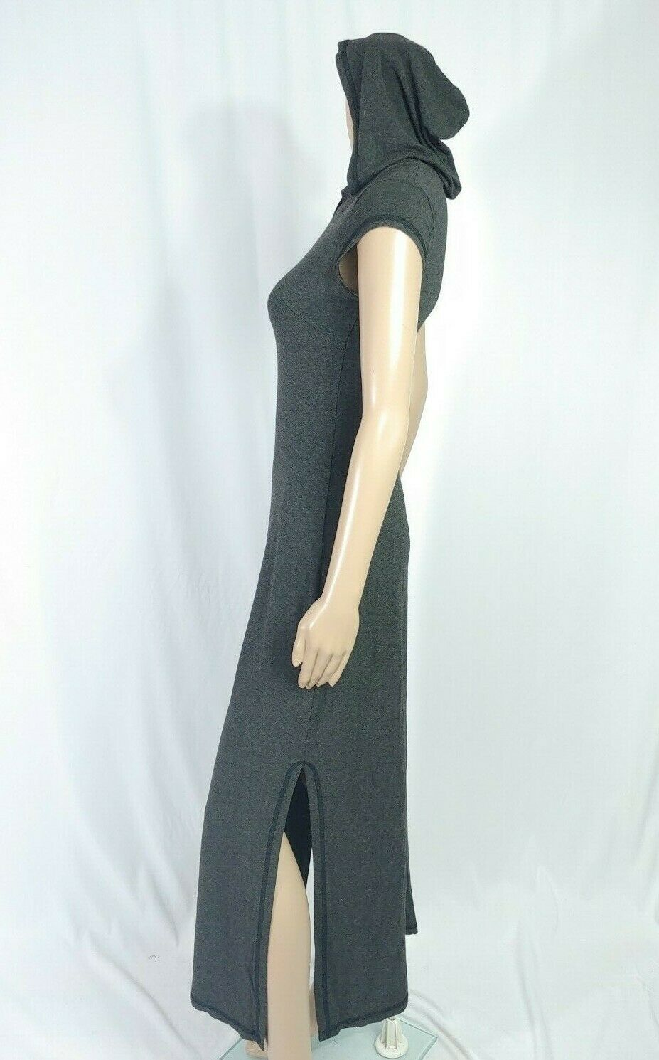 Alexia Admor Hooded Maxi Shirt Dress S Charcoal Gray Jersey Side Slit Midi Witch