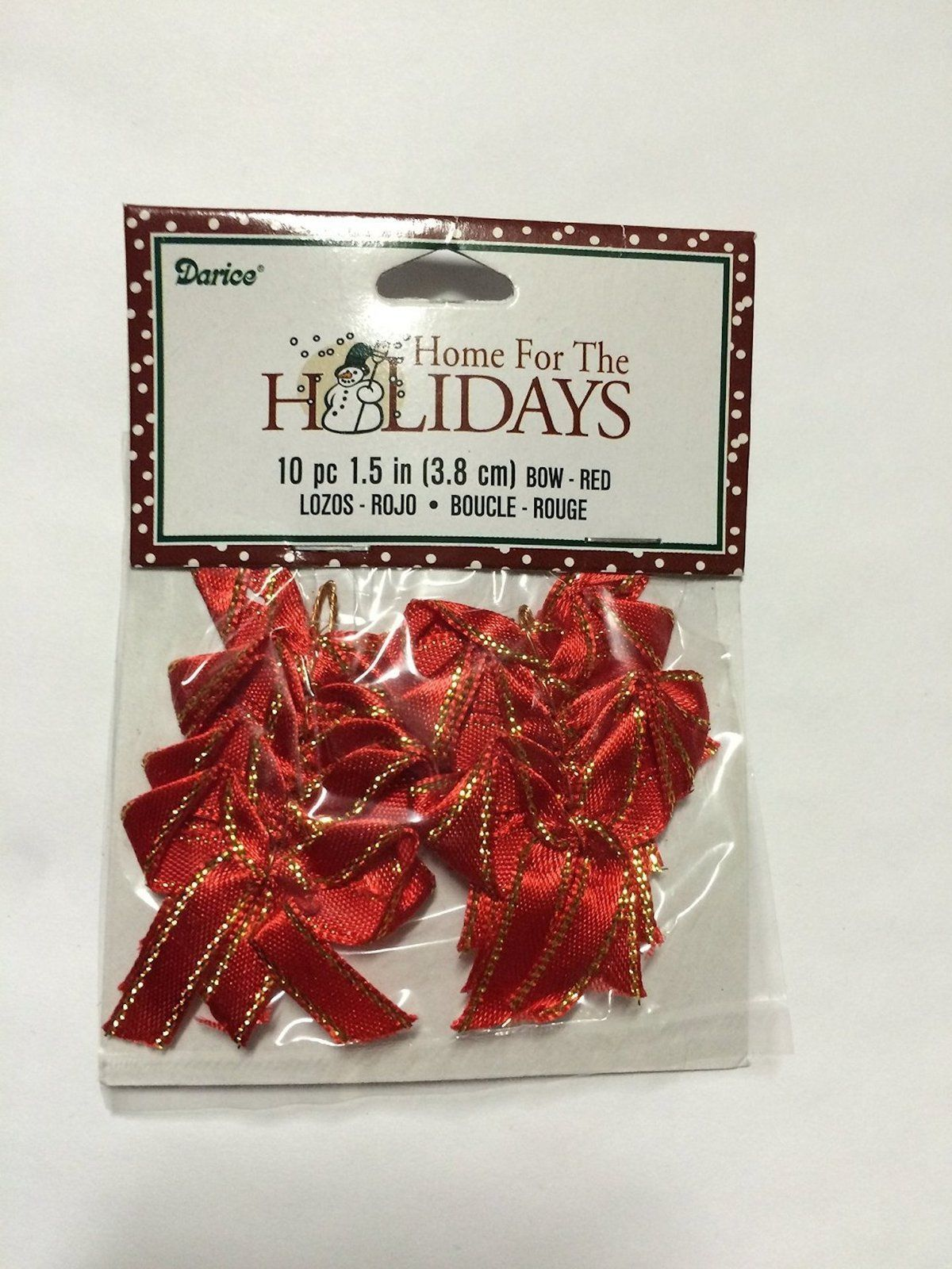 "Christmas Miniatures 10 Pc 1.5"" RED Bows #2444-40"