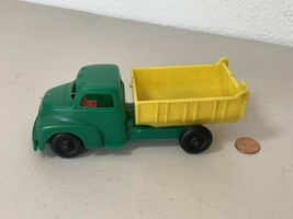 1950's Hubley GMC Plastic Dump Truck Green Yellow Plastic - $23.09
