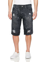 LR Scoop Men's Moto Quilted Distressed Painted Skinny Slim Fit Jean Denim Shorts image 10