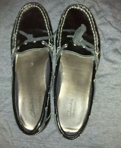 Clarks Bendables Women's Shoes 8 Black Patent Leather Loafers Flats Slip On