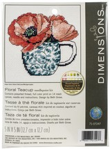 "Dimensions Needlepoint Kit 5""X5""-Floral Teacup Stitched In Thread - $26.00"